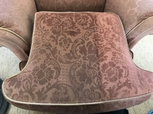 Domestic upholstery cleaning in progress